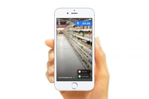 Photo of phone screen displaying a grocery store aisle