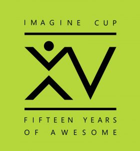 "Logo with the words ""Imagine Cup, 15 years of awesome"""