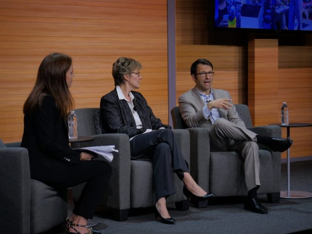Photo of Turi Widsteen, Abbie Lundberg and Judson Althoff at Digital Difference event in New York City