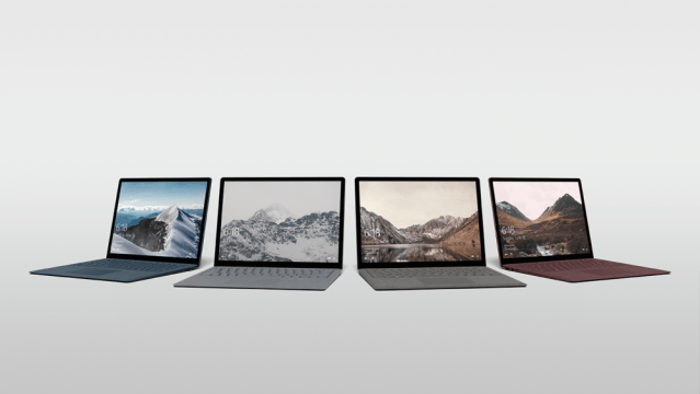 Four Surface Laptops in different colors