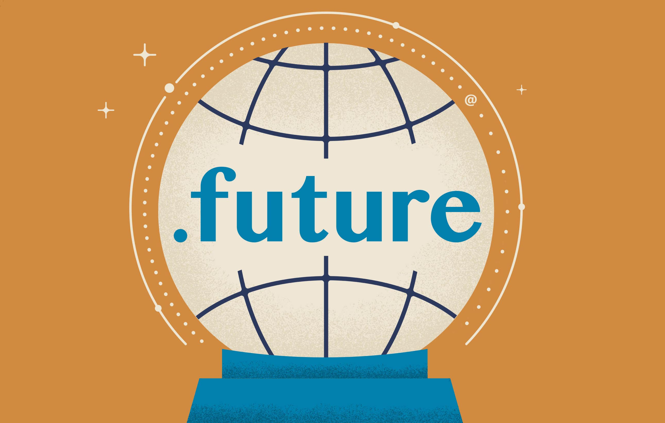 "The text "".future"" printed over a globe"