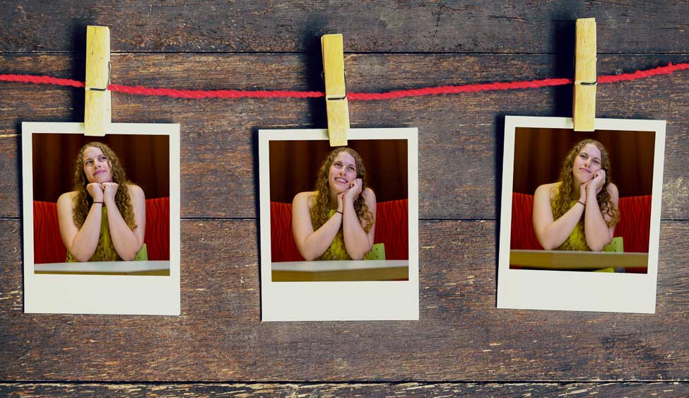 Three Polaroid snapshots of Beth Anne Katz, hung on a red string with clothespins.