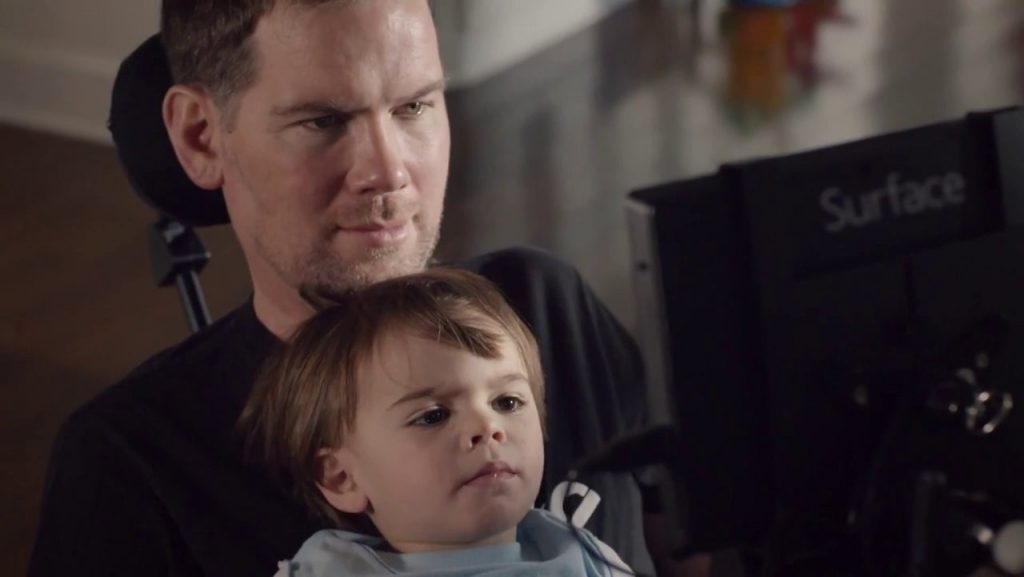Former NFL player Steve Gleason with his son