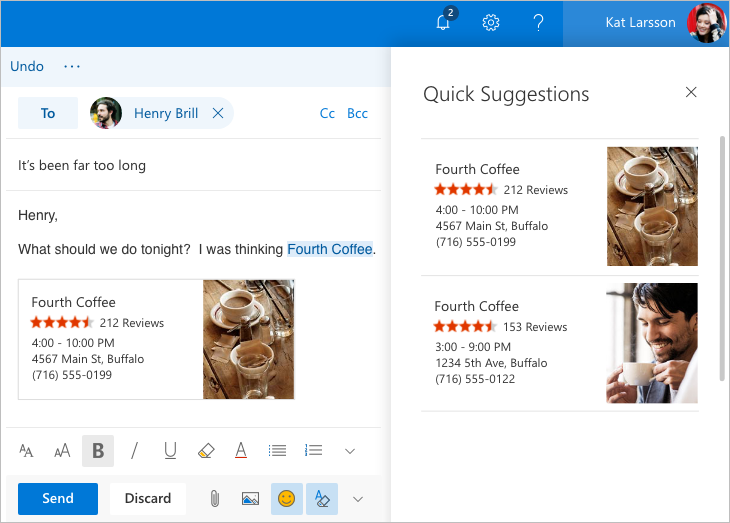 "Screenshot of Outlook.com beta ""Quick Suggestions"" feature"