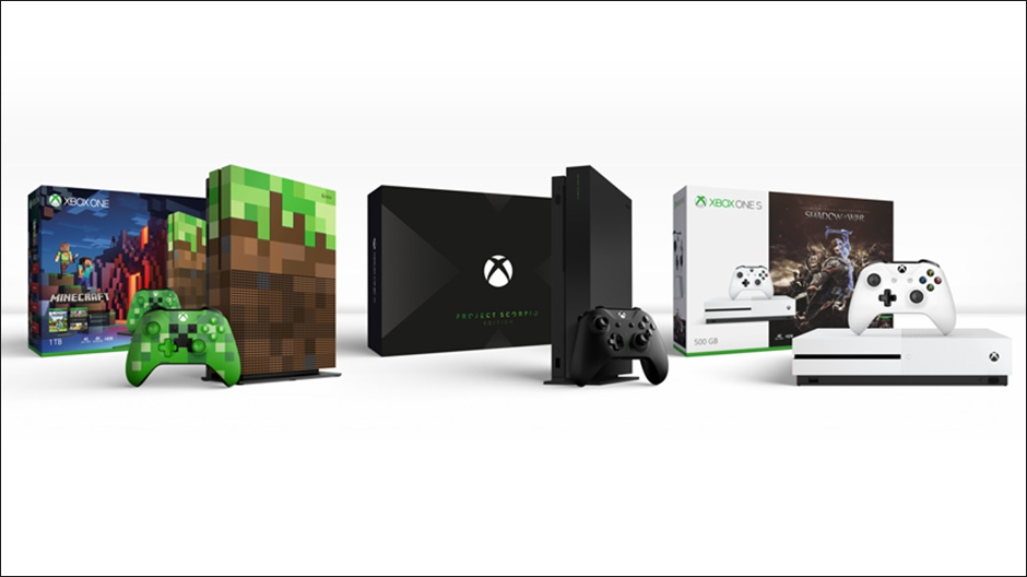 A picture of three different types of Xbox devices and controllers.