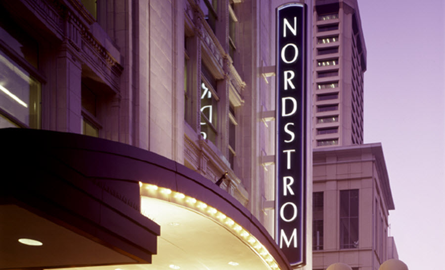 A Nordstrom sign outside a Nordstrom store.