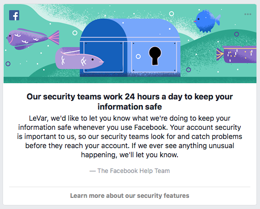 Facebook In-Product Security Message