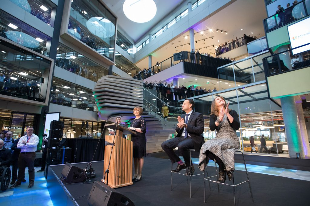 Irish Prime Minister with Microsoft executives Peggy Johnson and Cathriona Hallahan at the opening of One Microsoft Place in Dublin
