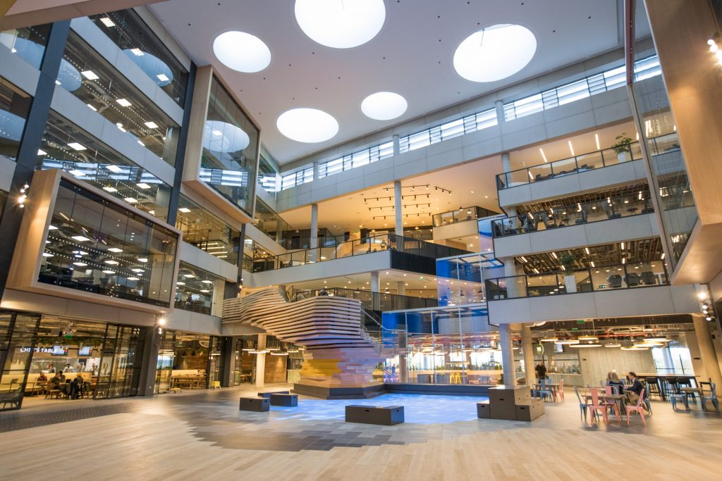 Interior photo of part of the new Microsoft Ireland campus