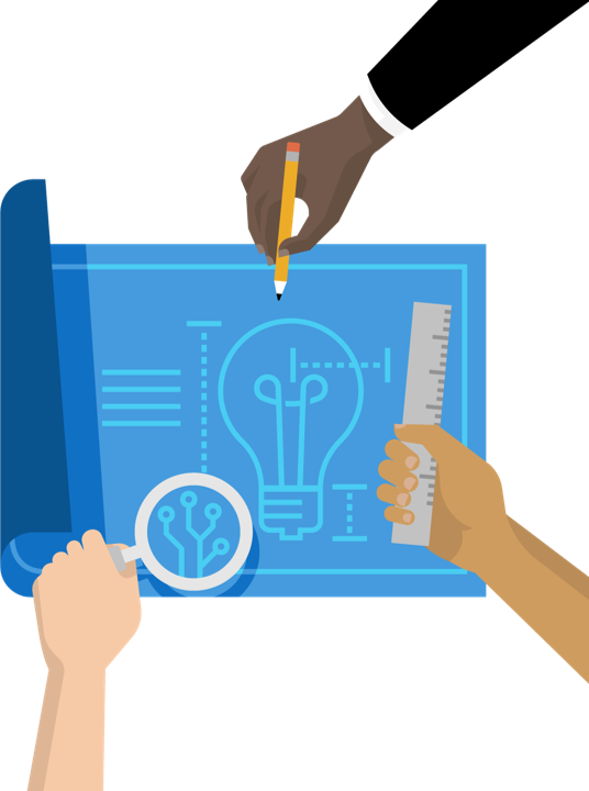 Illustration of ideas on paper