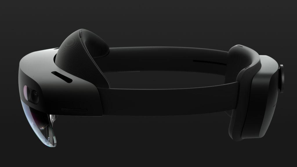 Side view of sleek black HoloLens 2