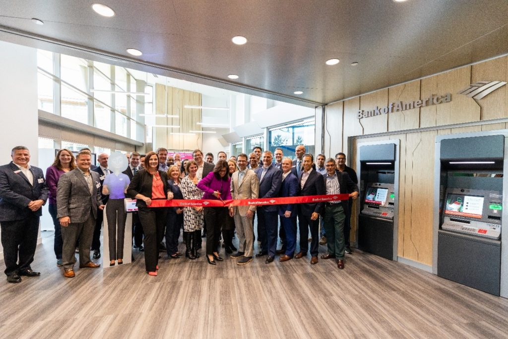 Judson Althoff joins in the Redmond opening of the new Bank of America on Microsoft's campus. The branch is testing new technologies powered by Microsoft Azure and AI.