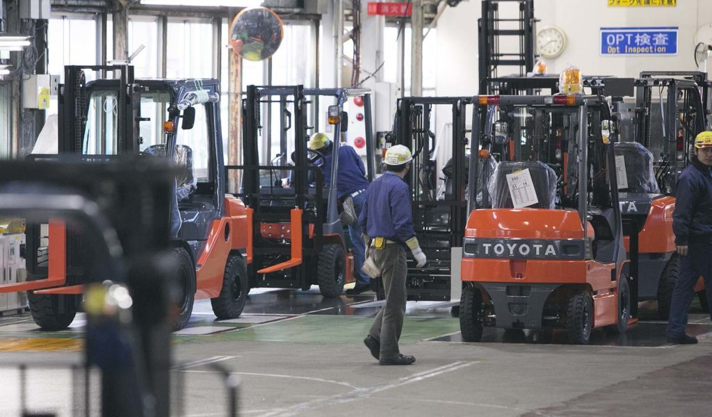 Toyota workers in factory