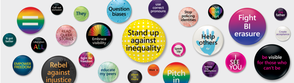 Several Pride-related buttons
