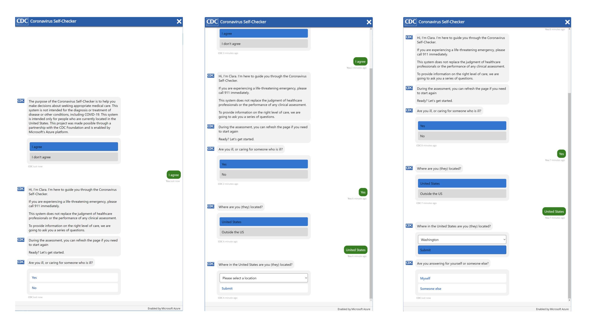 COVID-19 assessment bot screenshots