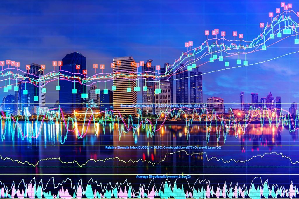 City skyline overlaid with points on a graph