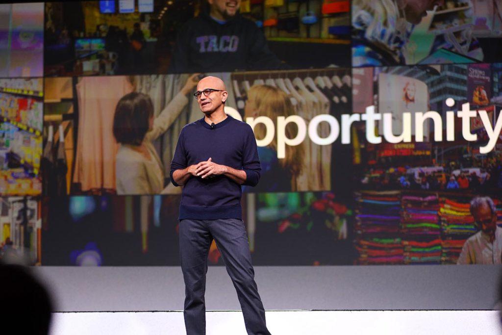 Microsoft CEO Satya Nadella delivers the opening keynote at NRF 2020