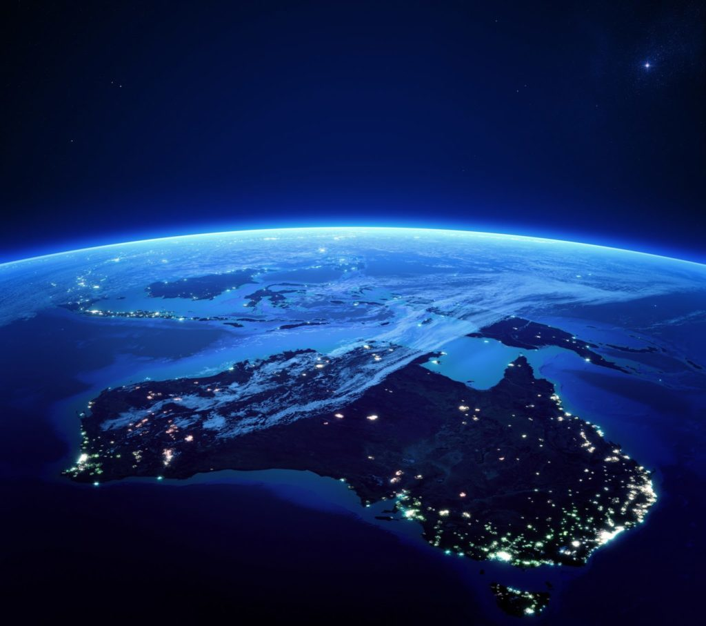 View of Australia city lights from space at night