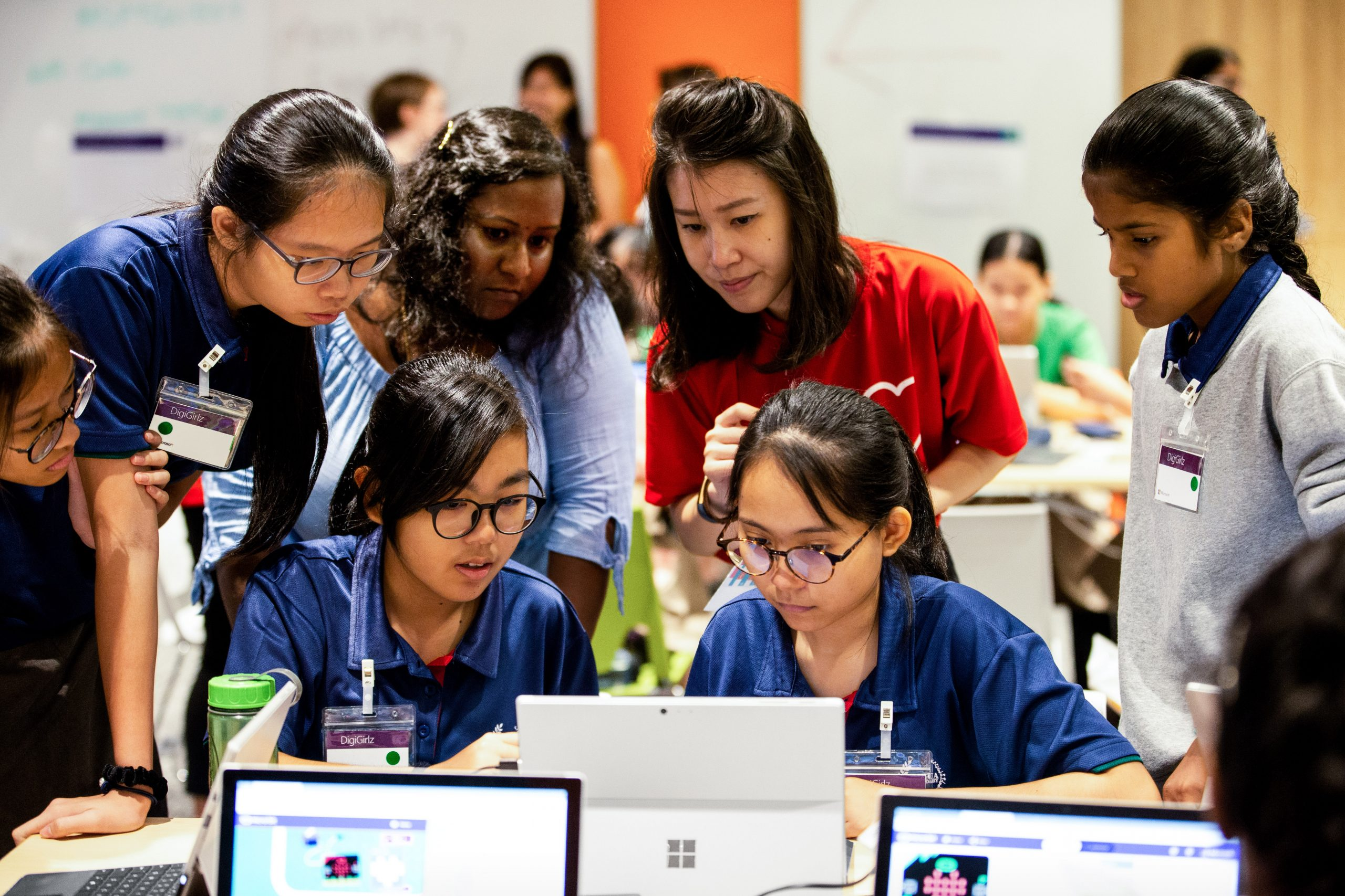 Group of girls at computer