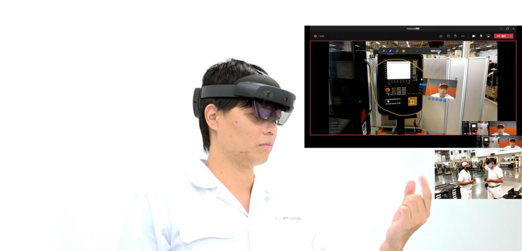 Woman using HoloLens headset