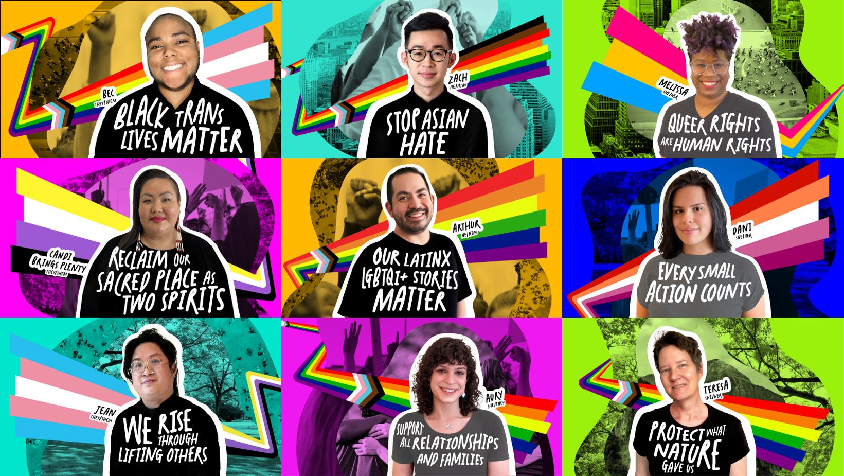 Nine people wearing Pride teeshirts